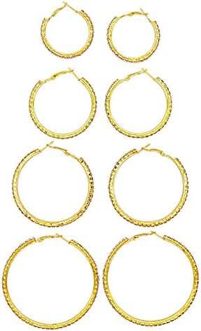 JSEA 3-4 pairs Rhinestones Hoop Earrings Set Silver for Women Big Earrings Hoops Rose Gold