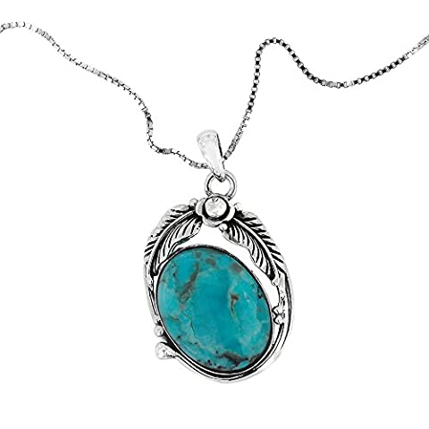 925 Oxidized Sterling Silver Blue Turquoise Gemstone Oval Feather Flower Pendant Necklace, 18 inches