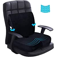 Seat Cushion Lumbar Support Pillow Cool Gel Memory Foam Coccyx Orthopedic Ergonomic Pads for Office Chair Car Seat…