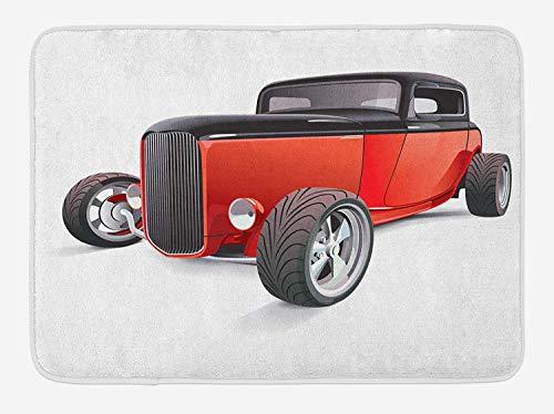 (Cars Bath Mat, Nostalgia Red Hot Rod American Culture Retro Revival Classics Collector's Car, Plush Bathroom Decor Mat with Non Slip Backing, 23.6 W X 15.7 W Inches, Red Black White)