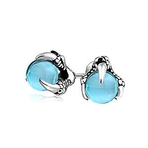 Orb Dragon Claw Aqua Blue Stud Earrings Bola para Hombres y Mujeres de Acero Inoxidable oxidado