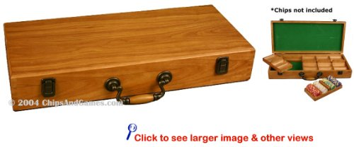 Oak Finish Wooden Poker Chip Case with Removable Trays - Space for 500 Chips & accessories. by Da Vinci