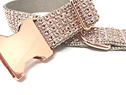 Blingy and Sparkly Rose Gold Rhinestone Dog Collar