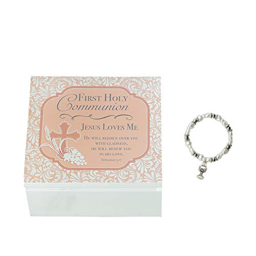 Abbey CA Gift Jesus Loves Me Chalice Floral Peach 5 x 5 Wood First Communion Box and Bracelet