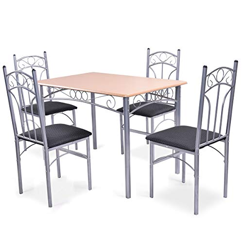 Giantex 5PCS Dining Room Table Set with 4 Chairs Metal Frame Wood Style Tabletop Comfortable Cushioned Seat Home Kitchen Furniture Tables Chairs Set (Seat 4 Table Set Dining)