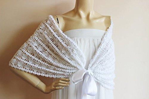 Crochet Bridal Cape /White off Wedding Wrap Shrug Bolero/Hand Crochet Mohair Shrug