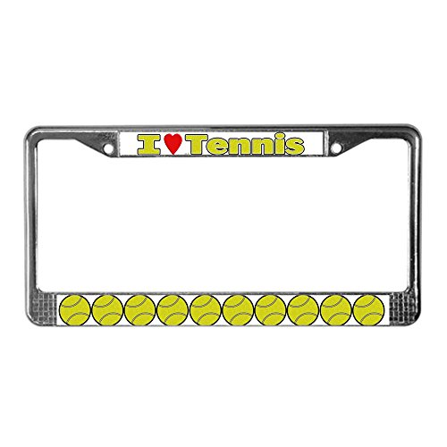 CafePress I Love Tennis Chrome License Plate Frame, License Tag Holder ()