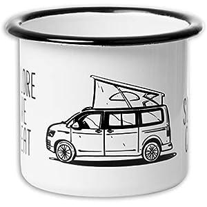 Mugsy I Emaille Tasse Eat Sleep Camp Explore Drive Repeat in Weiß, 330 ml, Camping Tasse mit Spruch I Campervan Motiv…
