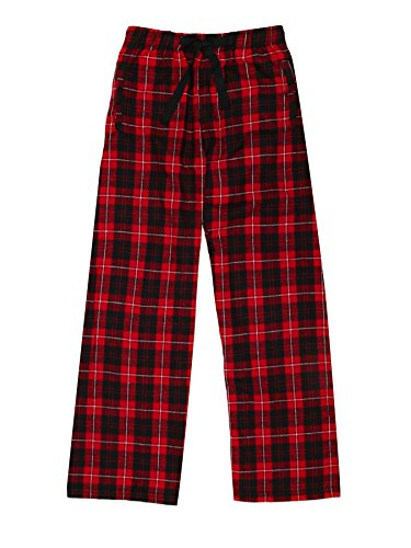 Ultra Soft Unisex Youth 100% Cotton Flannel Pants – Red Black, Large