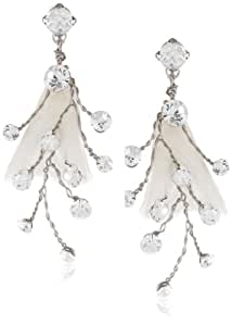 Nina 'Odeta' Organza Flower and Crystal Earrings