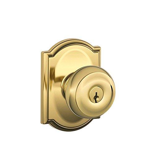 - Schlage F51A GEO 605 CAM Georgian Knob with Camelot Trim Keyed Entry Lock, Bright Brass