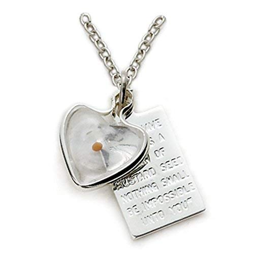 Sterling Silver Mustard Seed Heart with Passage Plate Pendant Set, 1/2 Inch