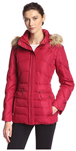 Larry Levine Women's Short Puffer with Faux Fur Trim, Red, S by LARRY LEVINE