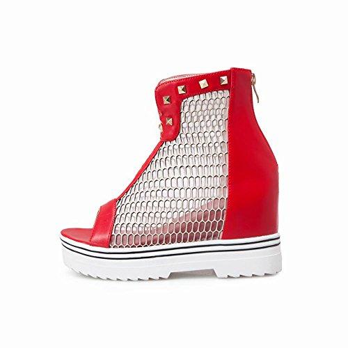 Mee Shoes Damen Keilabsatz Reißverschluss mit Nieten Sandalen Rot