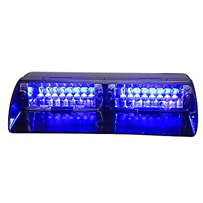 XKTTSUEERCRR 16LED 18 Flashing Mode Vehicle Dash Deck Grill Windshield Emergency Hazard Warning Strobe Flash Light for Car, Truck, Law Enforcement, Firefighter, EMS, Ambulance, Private Security (Blue)