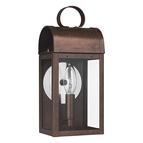 Sea Gull Lighting 8514801-44 Conroe One-Light Outdoor Wall Lantern with Clear Glass Panels, Weathered Copper Finish (Sconce 1 Light Reflections)