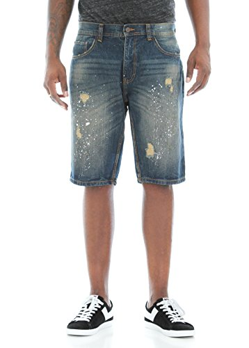 Akademiks Men's Burton Wash Denim Shorts-Vintage-34