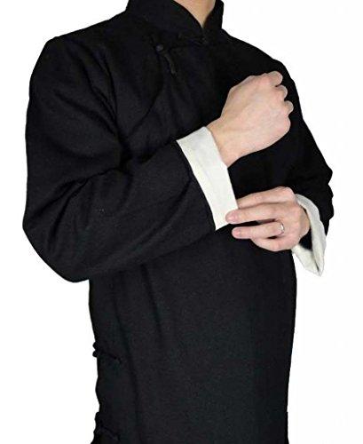 Lin Premium Manteau Noir Qi Gong Kung Fu Tenue Tai Chi Col Mao Sur Mesure #101