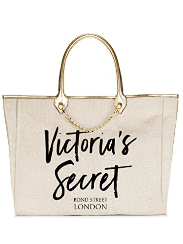Victoria's Secret Angel City London Cream Tote Gold Tone