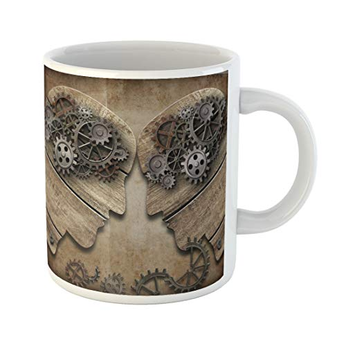 Semtomn Funny Coffee Mug Together Two Wooden Heads Gears Coming Into Collision Psychology 11 Oz Ceramic Coffee Mugs Tea Cup Best Gift Or Souvenir]()