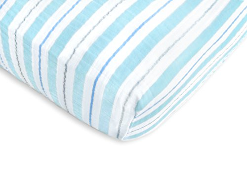 - SwaddleDesigns Cotton Muslin Crib Sheet, 3 Color Stripe with Shimmer, Blue