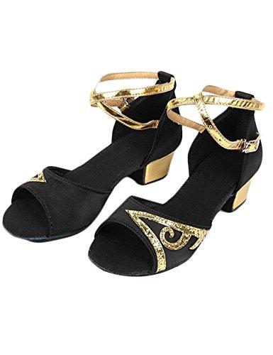 Eden Babe Girl's Satin Paillette Latin Dance Sandals(Little Kid 2M,Black 33)