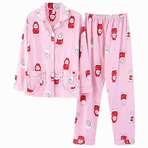 Risvolto Grande Domicilio Nightclothes Nightshirt Cotone Autunno Pink Color Xl Size In Dolce E Sciolto Servizio Maniche Signore Moda Rosa Casual Lunghe A Pigiama Primavera Ux6HdvTwTq
