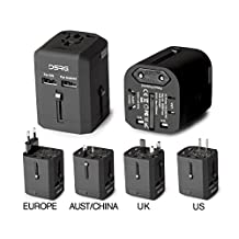 DSRG International UNIVERSAL All in One Worldwide TRAVEL POWER PLUG Wall AC Adapter Charger with Dual USB Charging Ports for US/EU/UK/AU with Black POUCH for safe STORAGE (BLACK style1)