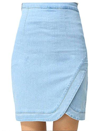 Plaid&Plain Women's High Waist Asymmetry Hem Stretch Denim Pencil Skirt Light Blue 6