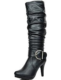 Sueño par de la mujer Paris Chic Moda Plataforma Rodilla Alto Rhinestone hebilla Slouchy forro de imitación piel...