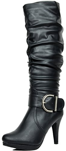 DREAM PAIRS Paris Women's Chic Fashion Platform Knee High Rhinestone Buckle Slouchy Faux Fur Interior High Heel Boots Black PU Size (Fur Heel Boots)
