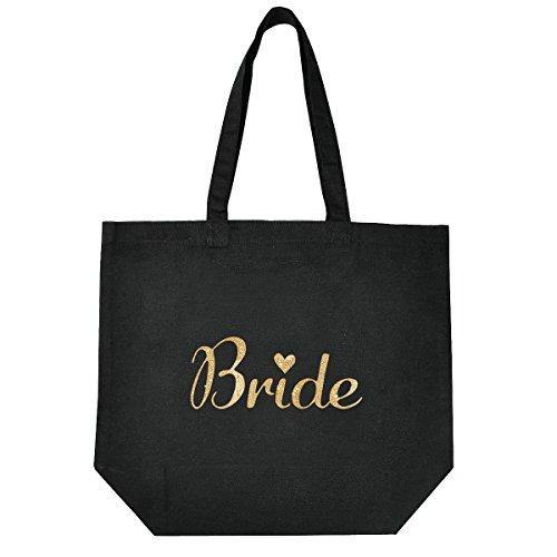 Bridal Gift Bag - ElegantPark Bride Tote Bag for Wedding Bridal Shower Gifts Black 100% Cotton with Gold Script