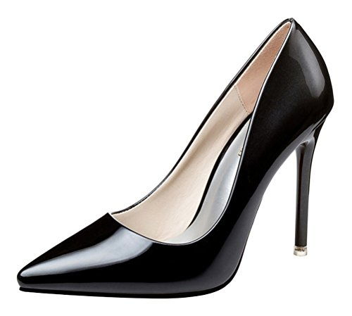 T&Mates Womens Trendy Shallow Pointed Toe Stiletto High Heel Gradient Patent Leather Pumps Shoes (5.5 B(M) US,Black)