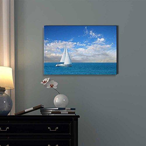Beautiful Seascape White Sail Boat on The Blue Calm Sea Wall Decor
