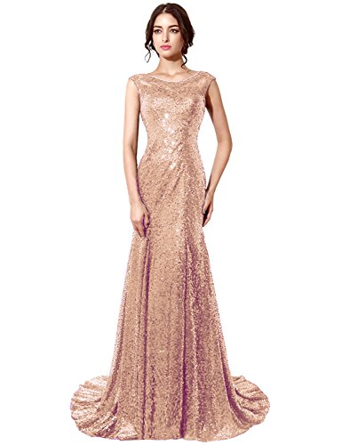 Belle House Rose Gold Sequins Sheer Neck Prom Dress Long Mermaid Evening Gown For Women 2018