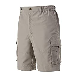 A.WAVE Outdoor Sports Cargo Short Elastic Waist Flat Front Quick Dry (XL, GREY)