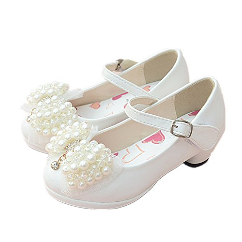 (Chic Girls Mary Janes Wedding Party Bridesmaids Shoe Low Heels Princess Dress Shoes-(White-11 M US Little Kid))