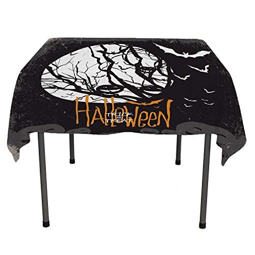 Vintage Halloween tablecloths for Kids Halloween Themed Image with Full Moon and Jack o Lanterns on a Tree Black White Everyday Table Cloth Spring/Summer/Party/Picnic 60 by 84 -
