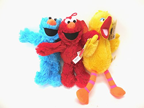 Sesame Street Elmo, Cookie Monster, Big Bird 3 Plush Doll 8 inches
