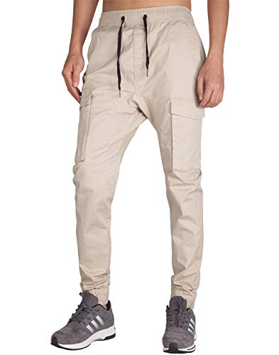 ITALY MORN Men's Chino Jogger Cargo Pants Bellow Pockets (XS, Cream Khaki) ()