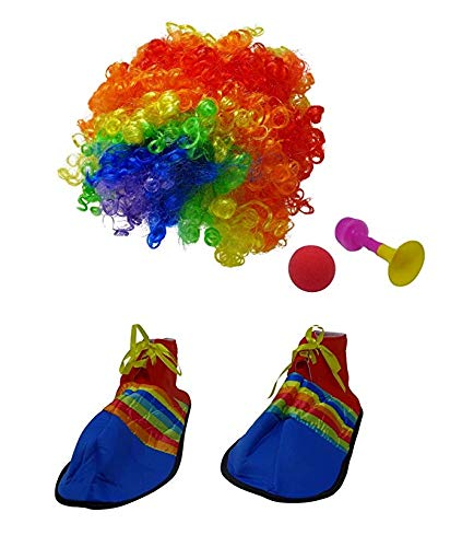 Clown Costume Set Includes Shoe Covers, Horn, Wig & Red Nose | Perfect for Ghost, Masquerade, Costume Theme Parties ()