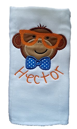 Monkey Serie - Burp Cloth for Babies, 100% Organic Cotton, Embroidered with Personalize Name, Extra Large 20