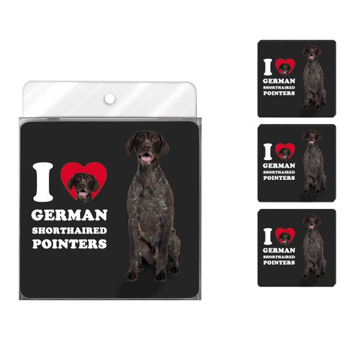Tree-Free Greetings NC39057 I Heart German Shorthaired Pointers 4-Pack Artful Coaster Set, Brown and White
