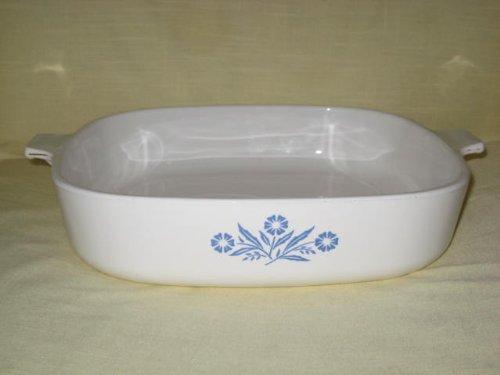 Corning Ware 11 Inch Cornflower Pattern White Baking Dish Casserole USA P-16-B