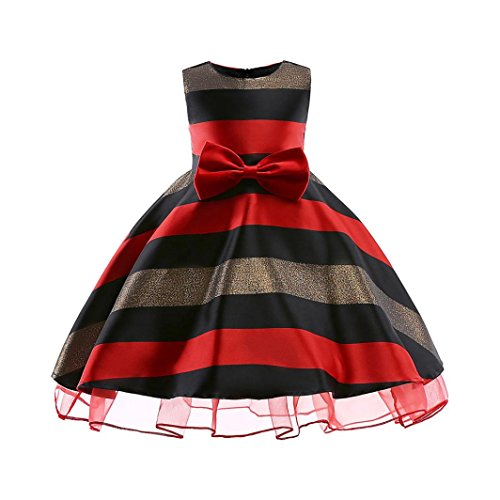 Dinlong Newborn Infant Toddler Girls Sleeveless Horizontal Stripe Bowknot Wedding Bridesmaid Pageant Princess Dress Clothes for 3-9 Years Old (Red, (Horizontal Photograph)