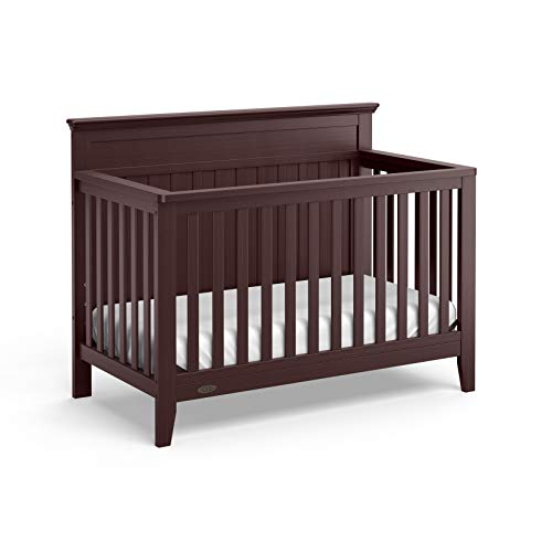 Graco Georgia 4-in-1 Convertible Crib (Espresso) - Easily Converts to Toddler Bed, Daybed, and Full-Size Bed, 3-Position Adjustable Mattress Support Base, Rustic Style
