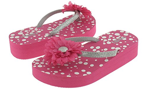 Capelli New York Glitter thong with flower on polkadot print Girls flip flops Pink Combo 1/2