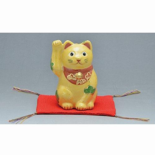 Kiyomizu-kyo yaki ware. Japanese ceramic ornament. Beckoning cat yellow. Fortune manekineko. kymz-ERT142