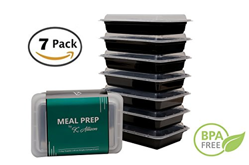 Meal Prep Container | Single Compartment | 28 oz Portion Control Container | 7 Pack