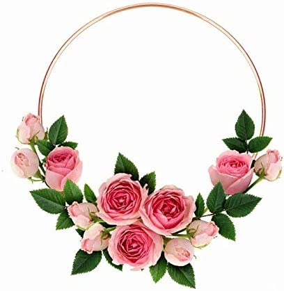 Fasdu 12 inch 5pcs Rose Gold Metal Floral Hoop Wreath Macrame Hoop Rings for Dream Catcher and DIY Crafts